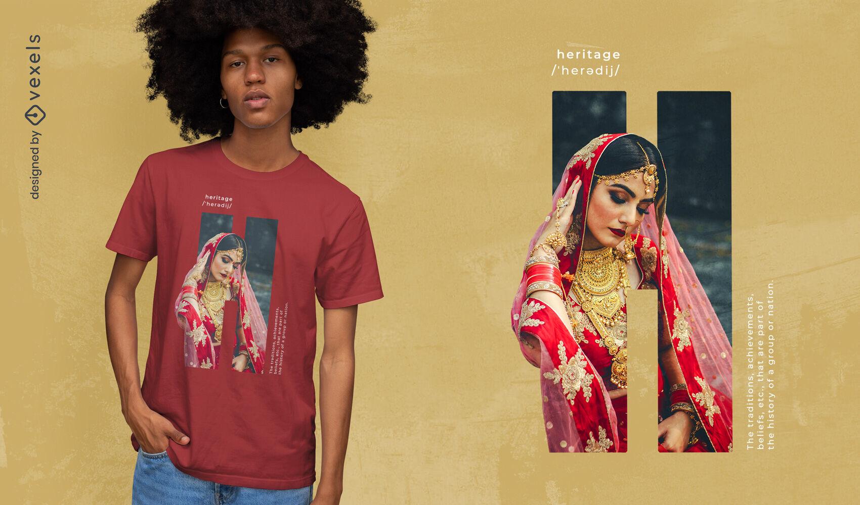 Heritage ethnic culture girl psd t-shirt design