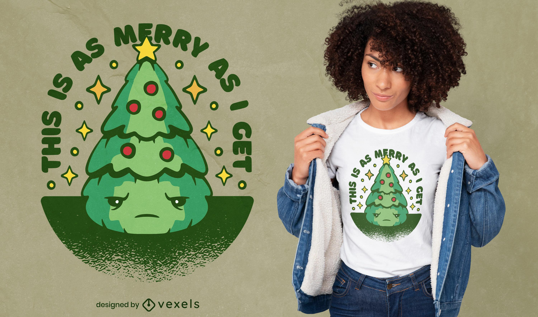 Dise?o de camiseta de ?rbol de navidad triste