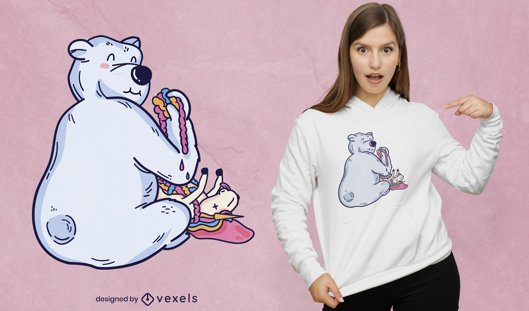 Desenho de camiseta de urso polar comendo unic?rnio