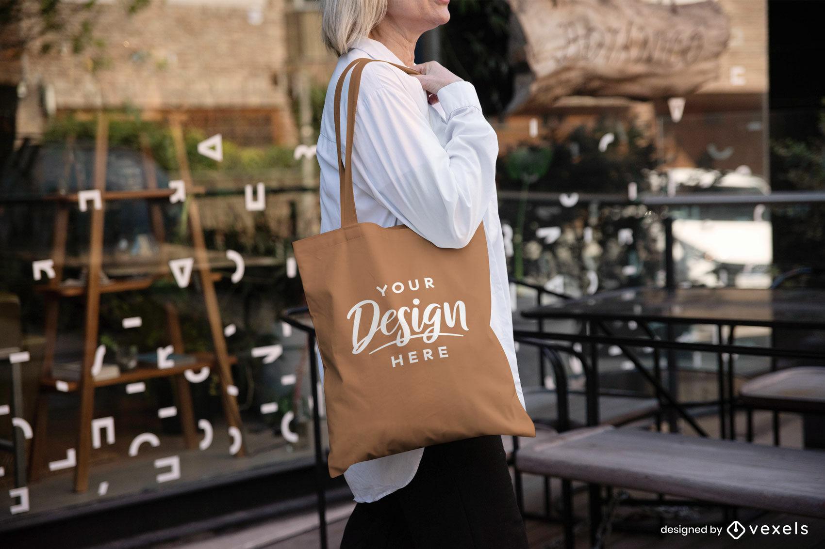 Woman brown tote bag mockup