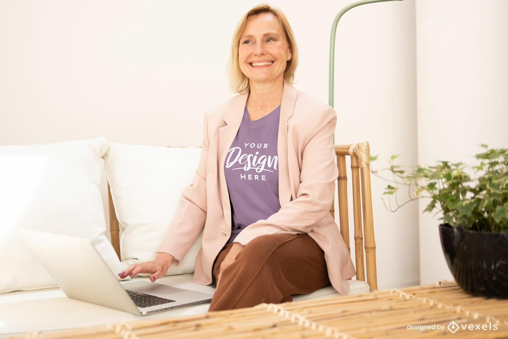 Woman in purple t-shirt in living room mockup