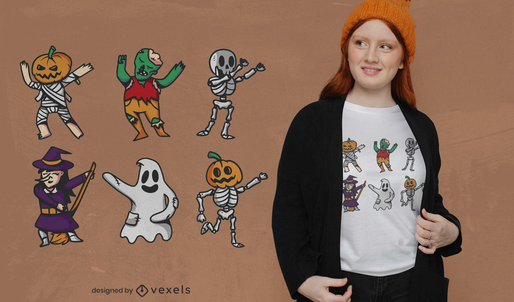 SOLICITAR Dise?o de camiseta de baile de personajes de Halloween