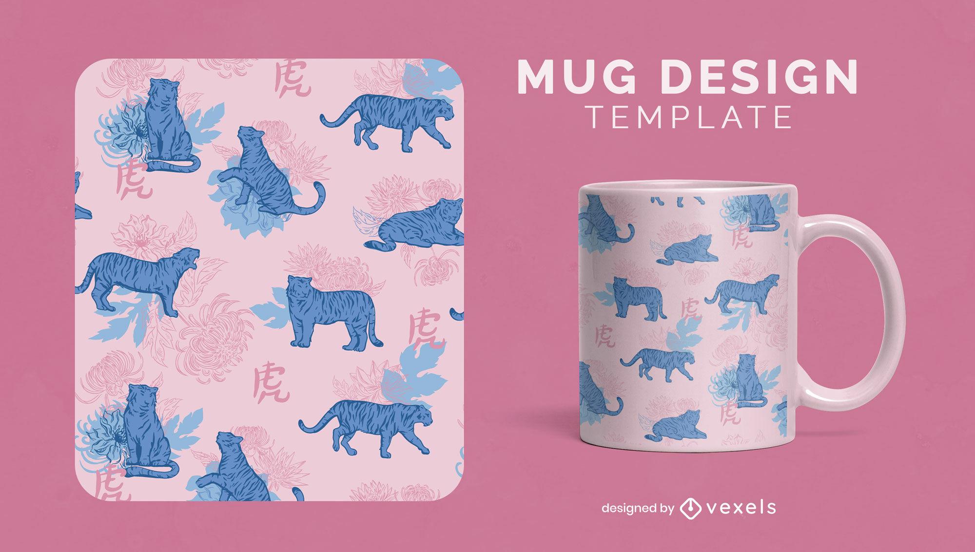 Chinese new year tigers mug design