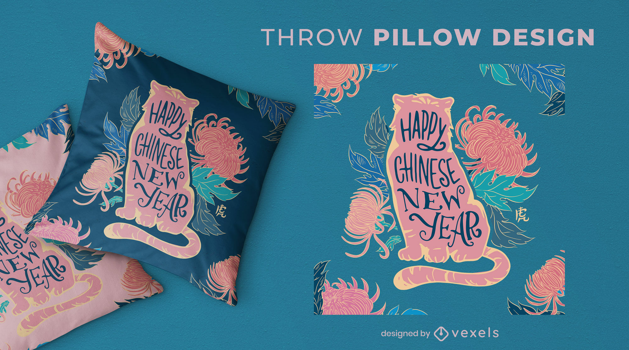 Chinese new year tiger throw pillow design