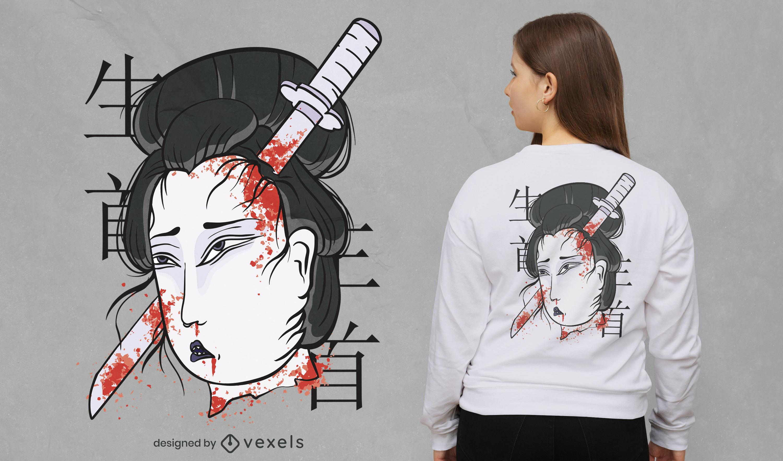 Cool Japanese woman t-shirt design