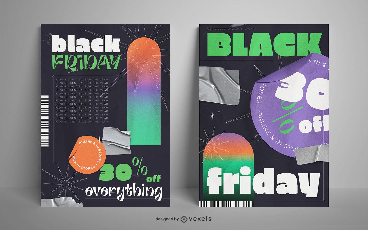 Black Friday poster design set