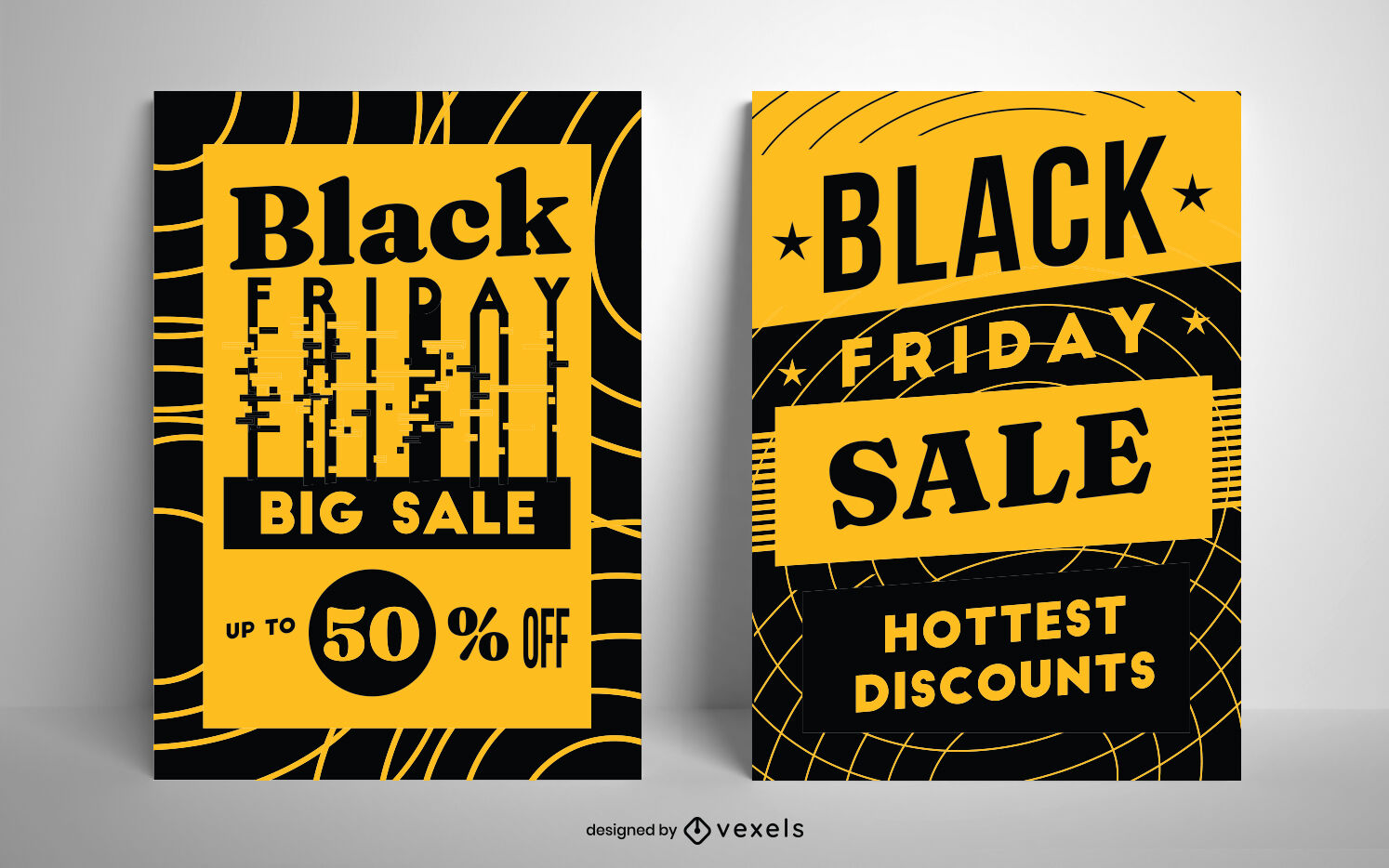 Black Friday duotone poster design set
