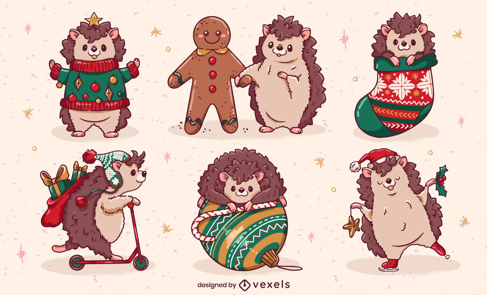 Christmas hedgehog character set