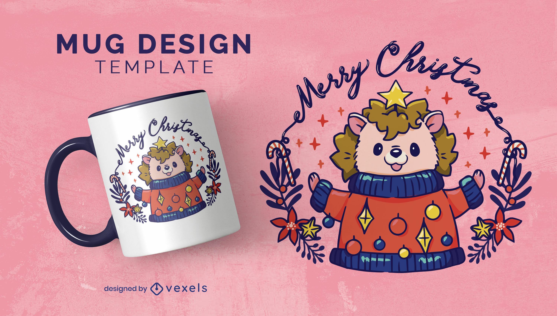Christmas holiday hedgehog mug design