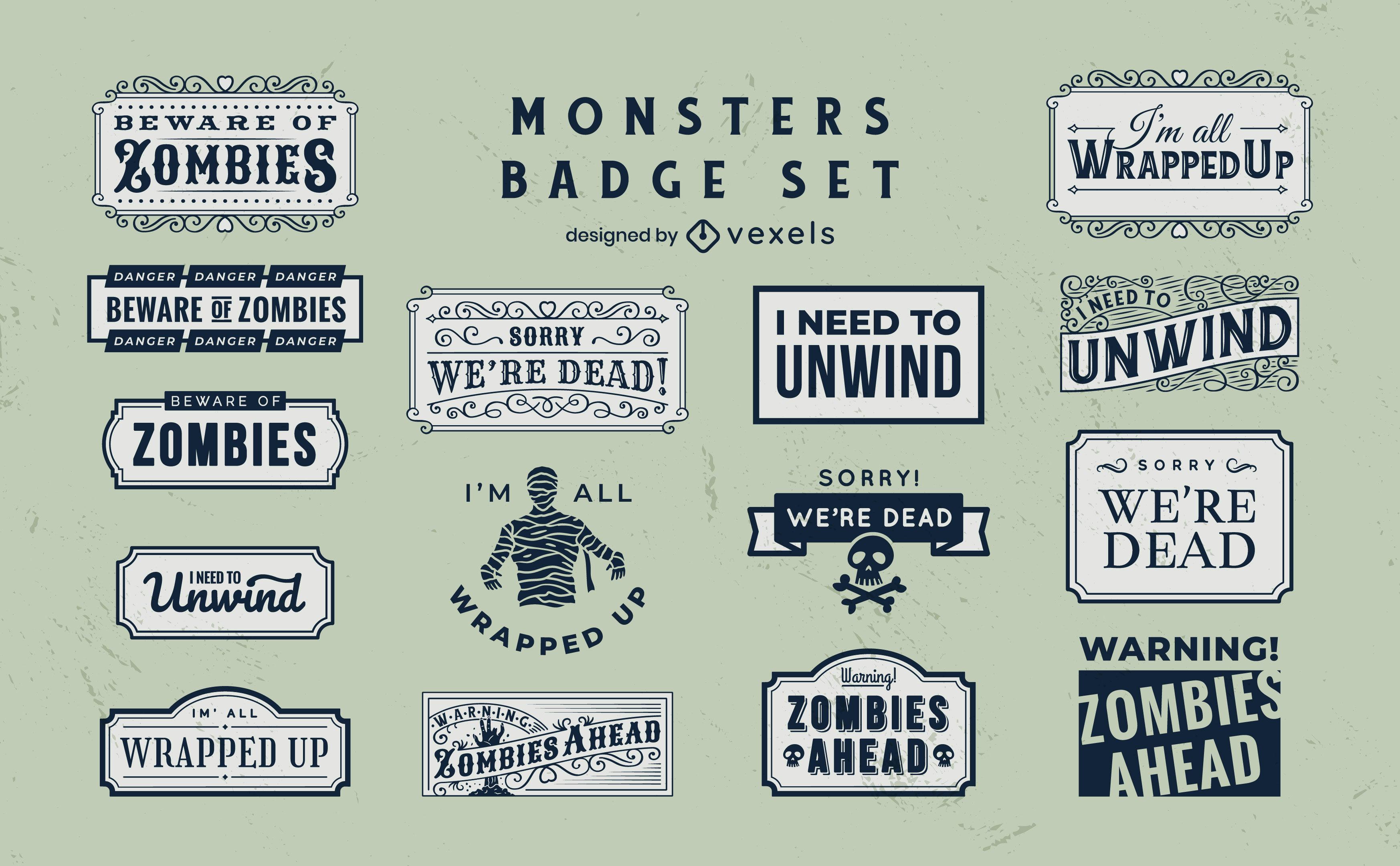 Conjunto de insignias de monstruos zombis y momias
