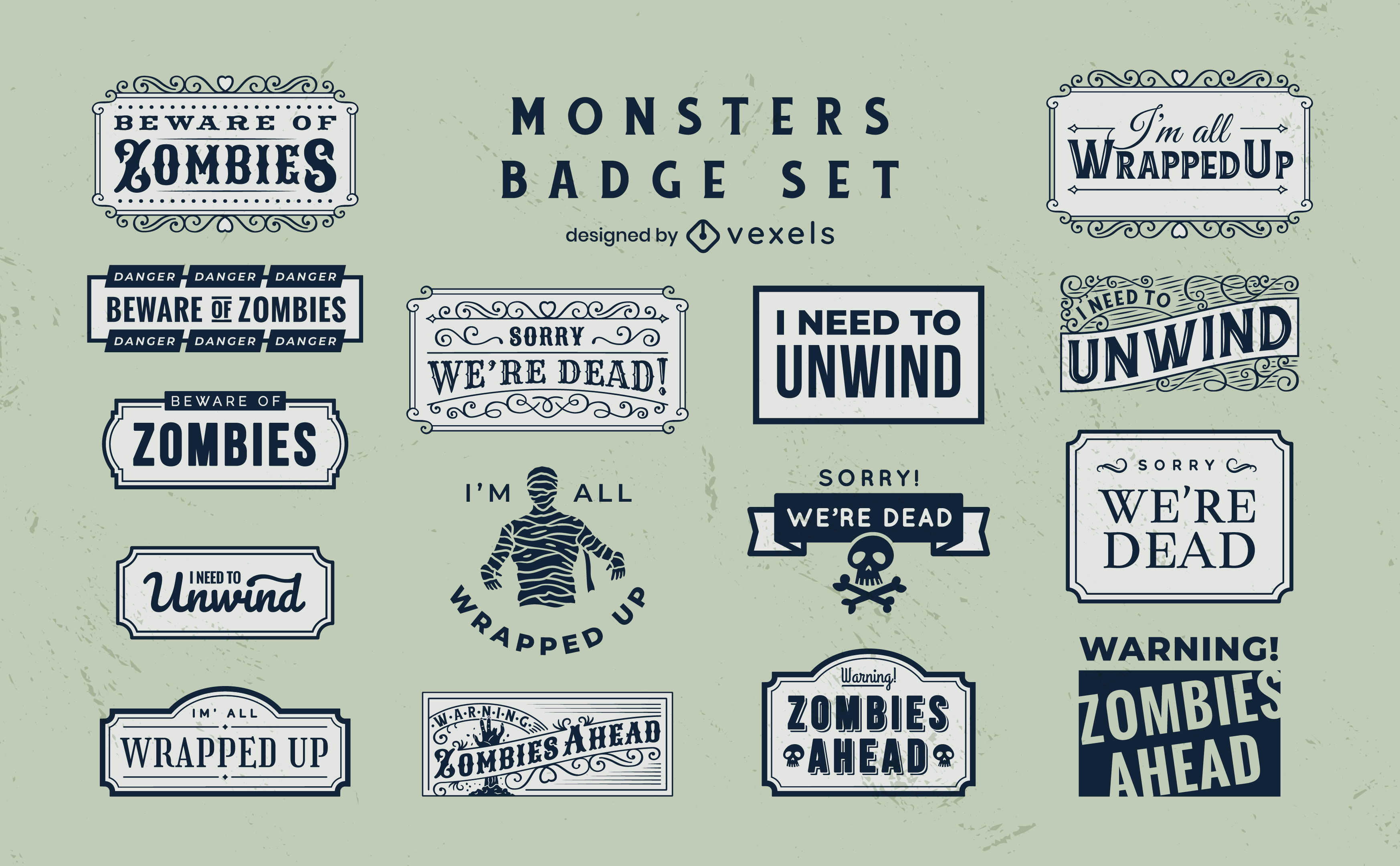 Zombie and mummy monsters badge set