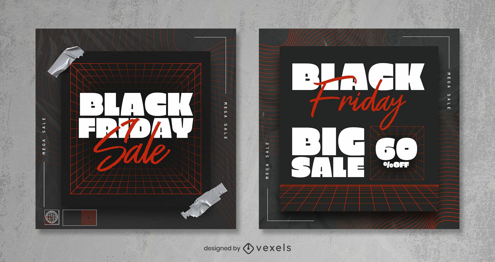Grid black friday sale modern instagram post template