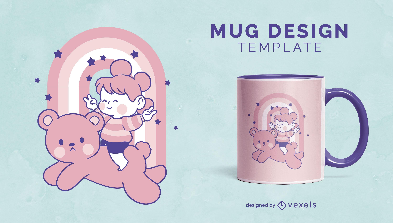 Child on bear animal cute mug design