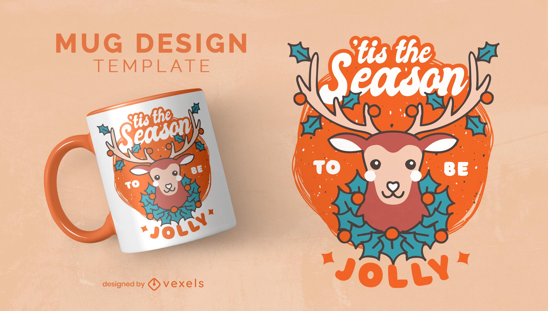 Christmas holiday reindeer mug design