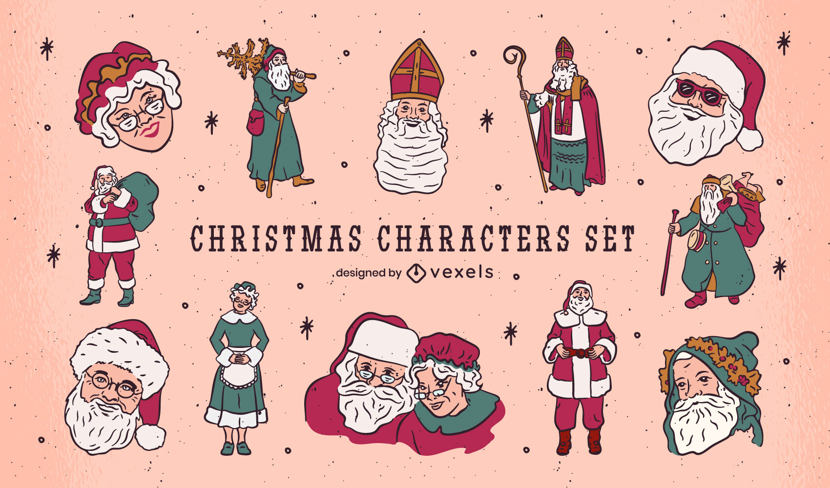 Conjunto de caracteres do papai noel natal