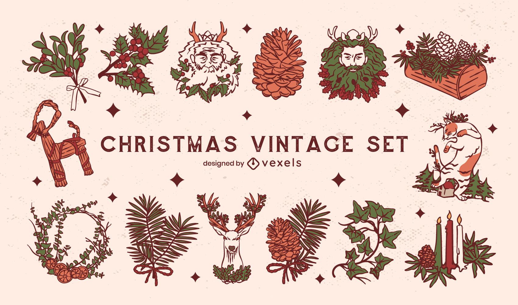 Christmas holiday nature vintage set