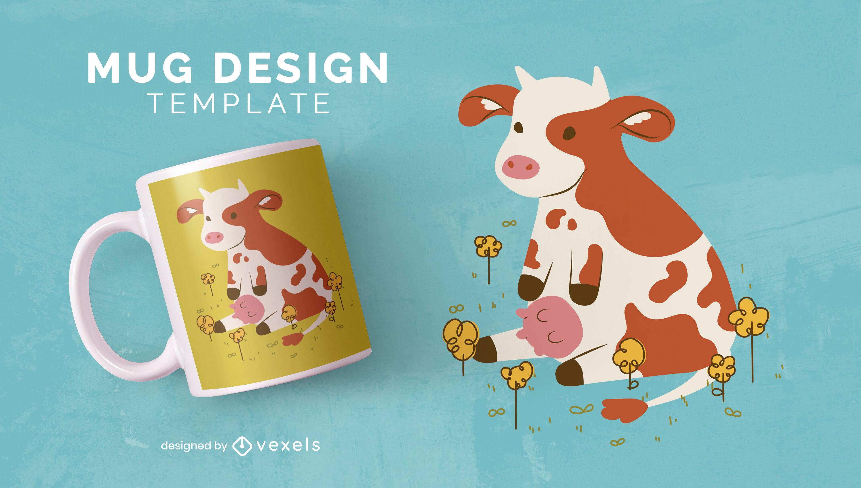 Design de caneca de vaca fofa