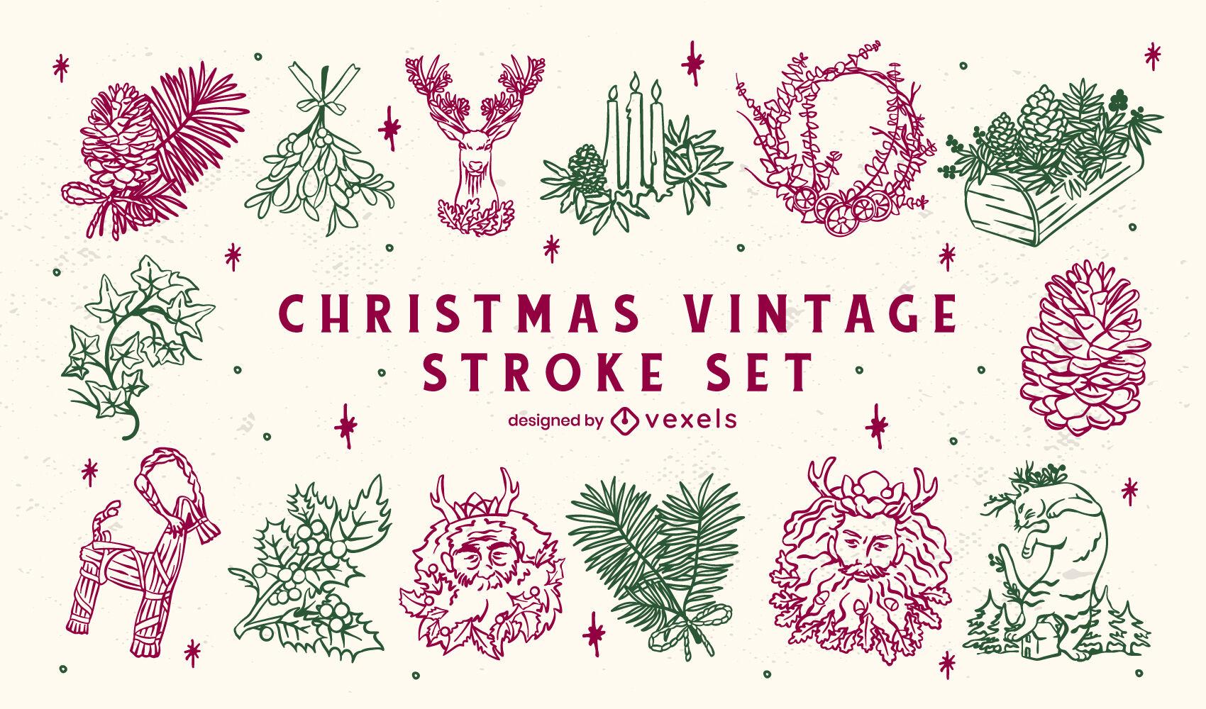 Conjunto de ilustraciones de Navidad vintage