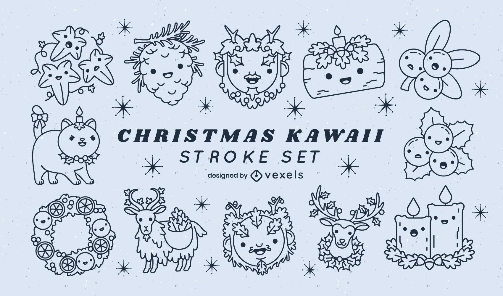 Conjunto de ilustraciones de Navidad kawaii