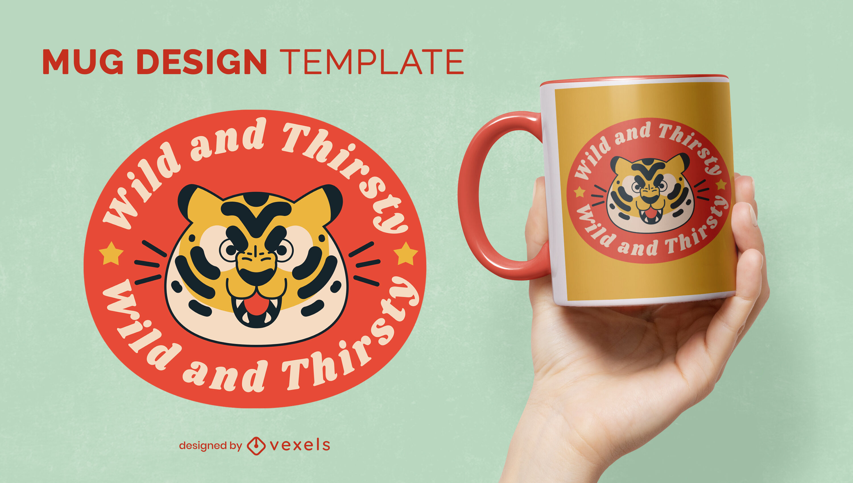 Cartoon tiger wild animal mug template