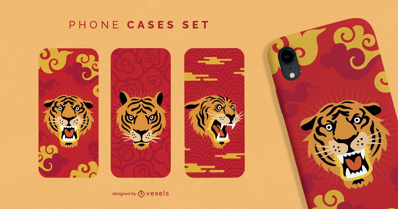 Conjunto de capa de celular tigre animal ano novo chinês
