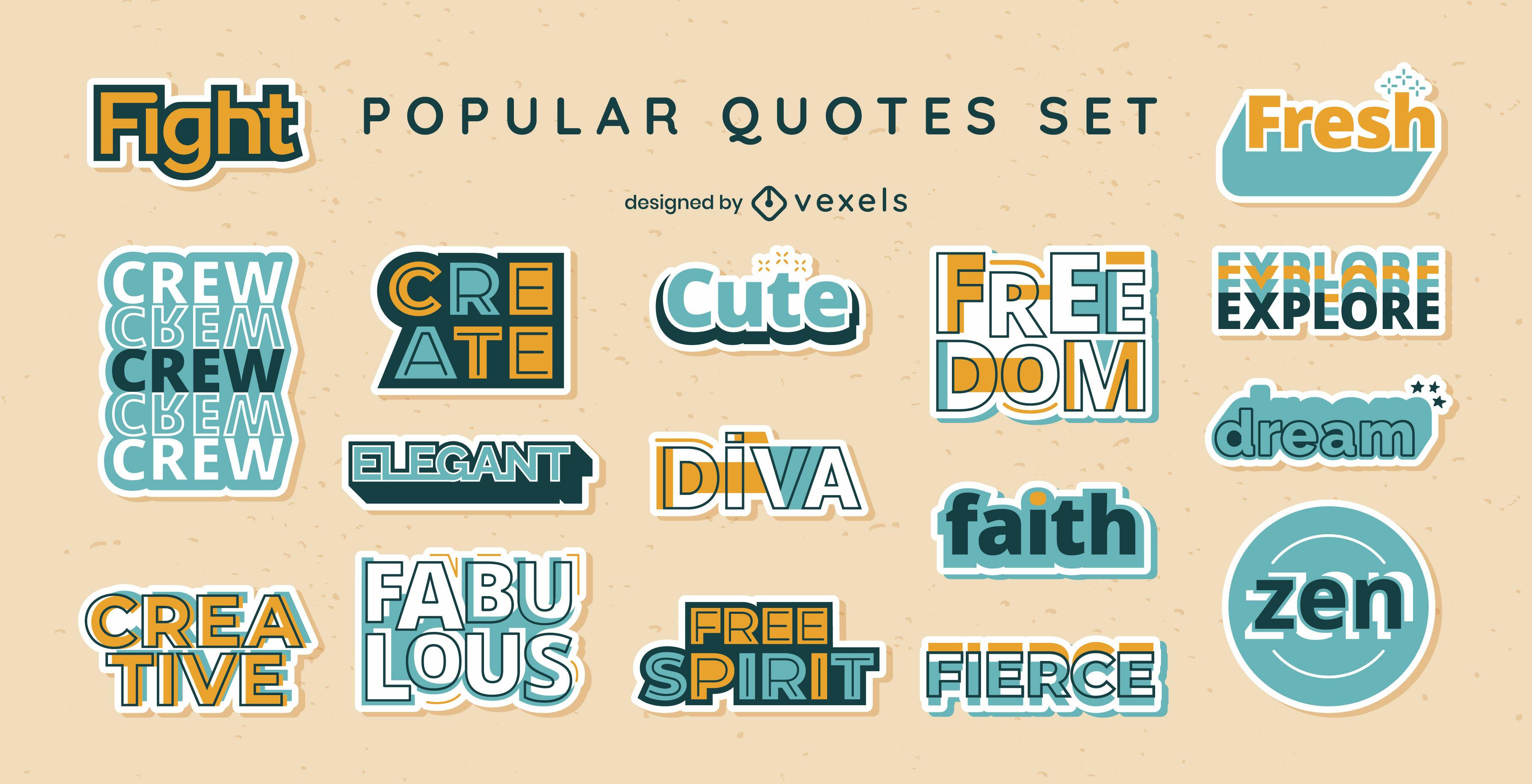 Conjunto de insignias de palabras y citas de jerga popular