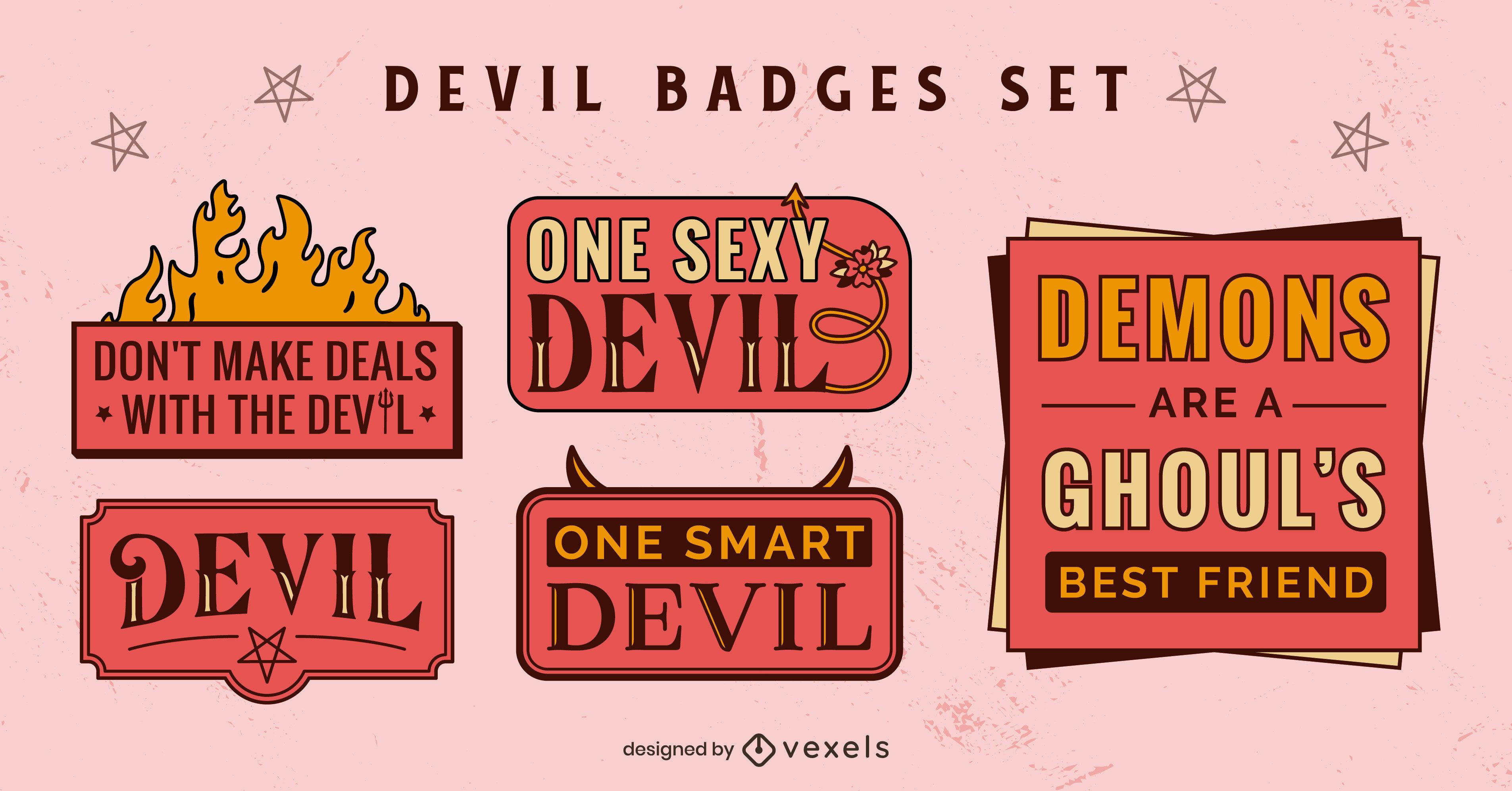 Diablos y demonios juego de insignias del infierno satánico.