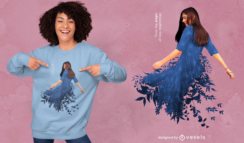 Mujer en vestido de hojas azules dise?o de camiseta psd