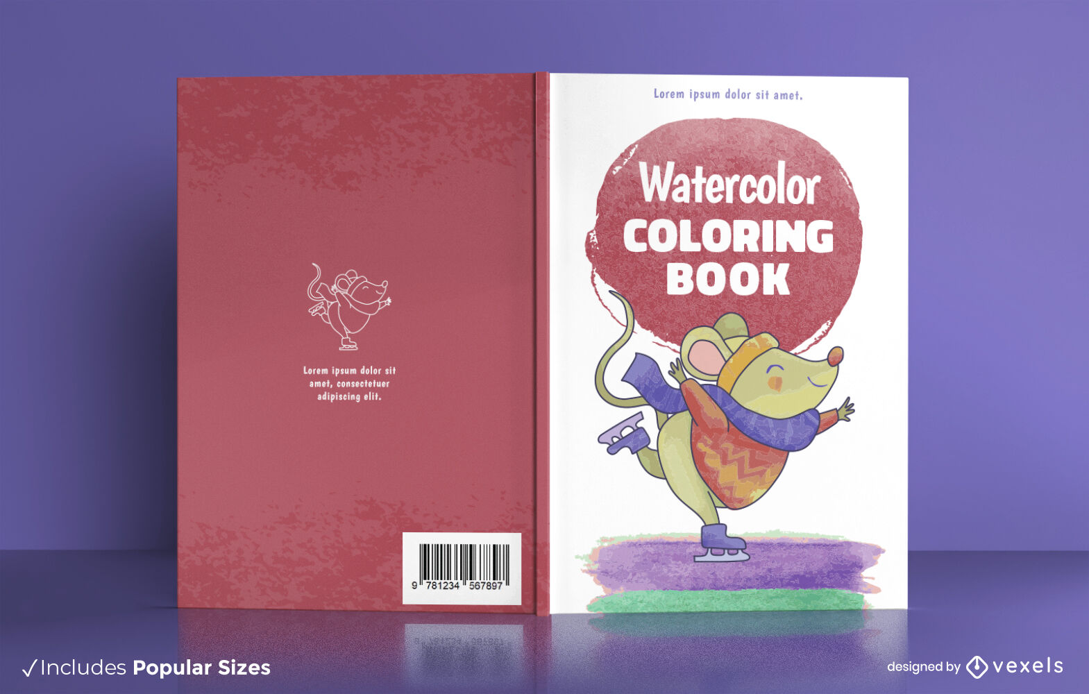 Mouse skating watercolor book cover design