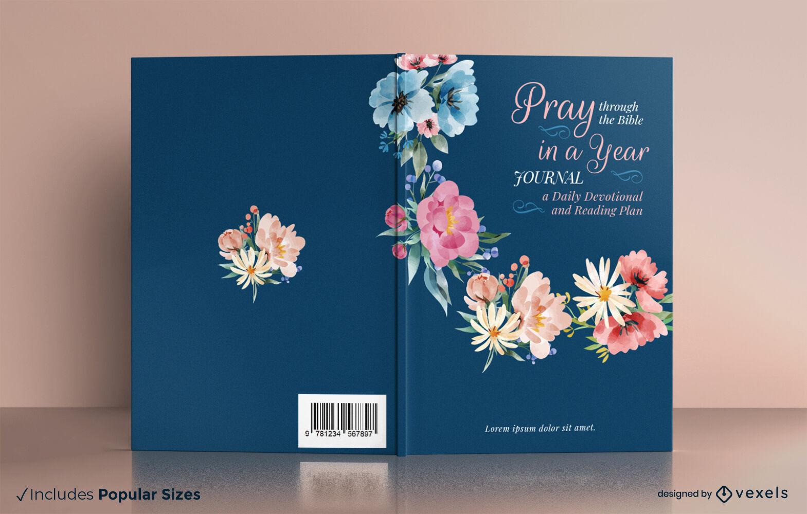 Diseño de portada de libro de acuarela de diario de oración floral