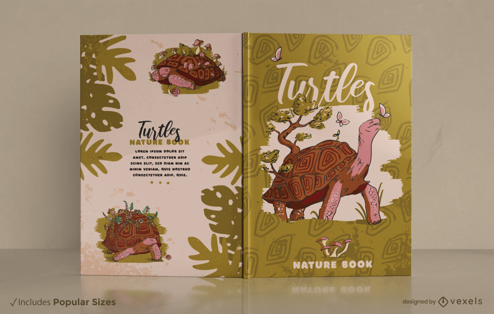 Dise?o de portada de libro de animales de tortuga terrestre.
