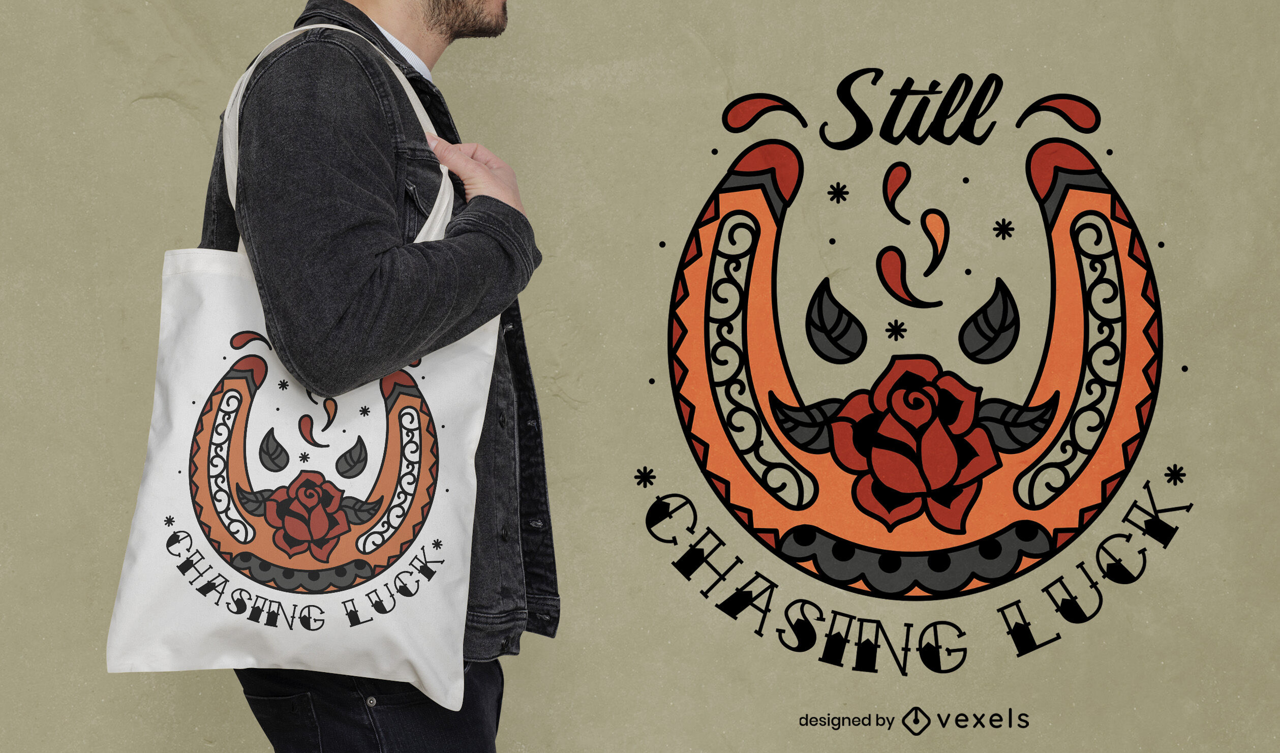 Horseshoe and rose flower tote bag design