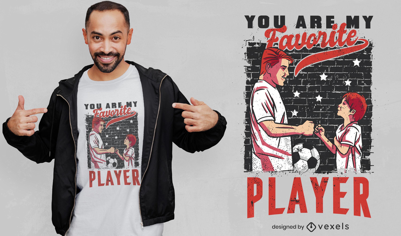 Vater und Sohn Fußballspieler-T-Shirt-Design