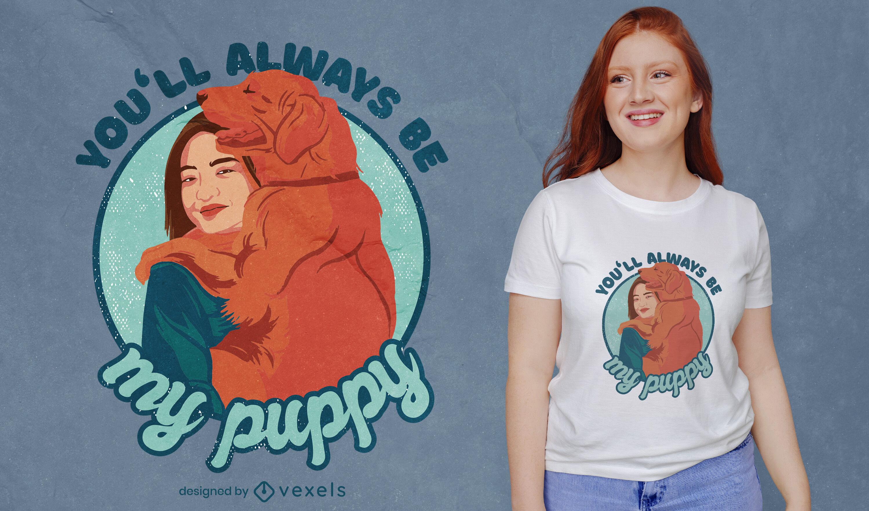 Diseño de camiseta de cita de cachorro de golden retriever