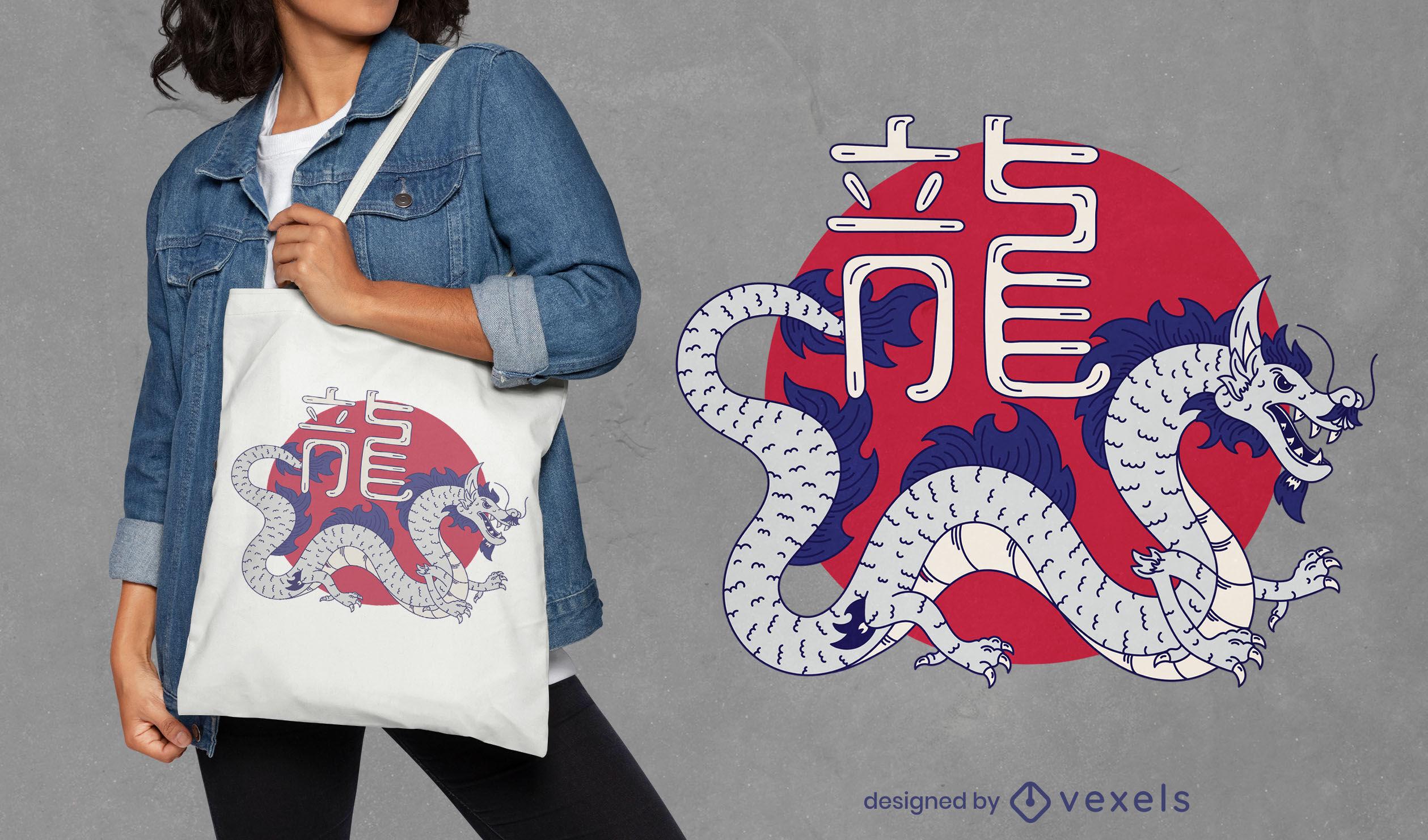 Chinese dragon creature tote bag design