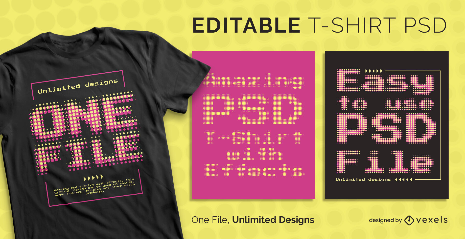 Plantilla de camiseta psd escalable con efecto de texto de p?xeles punteados retro