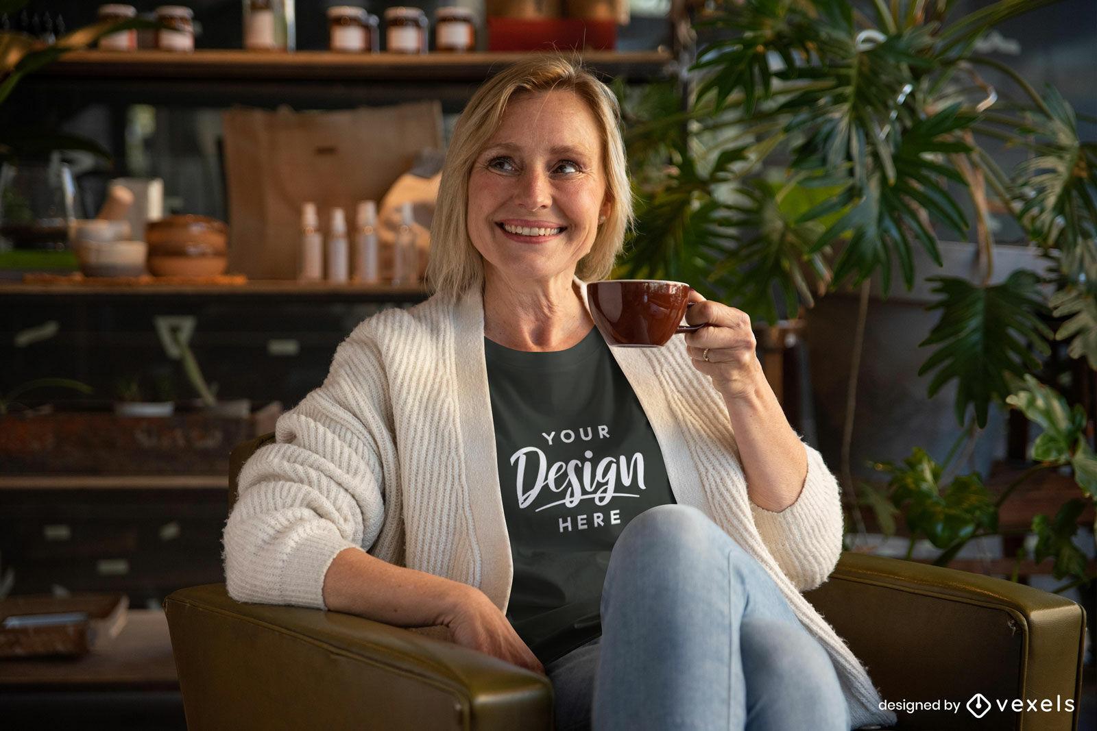 Woman in black t-shirt drinking coffee mockup