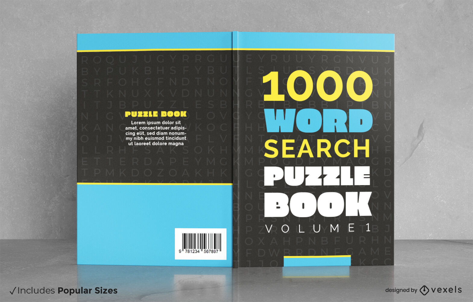 Cool word search puzzles book cover design