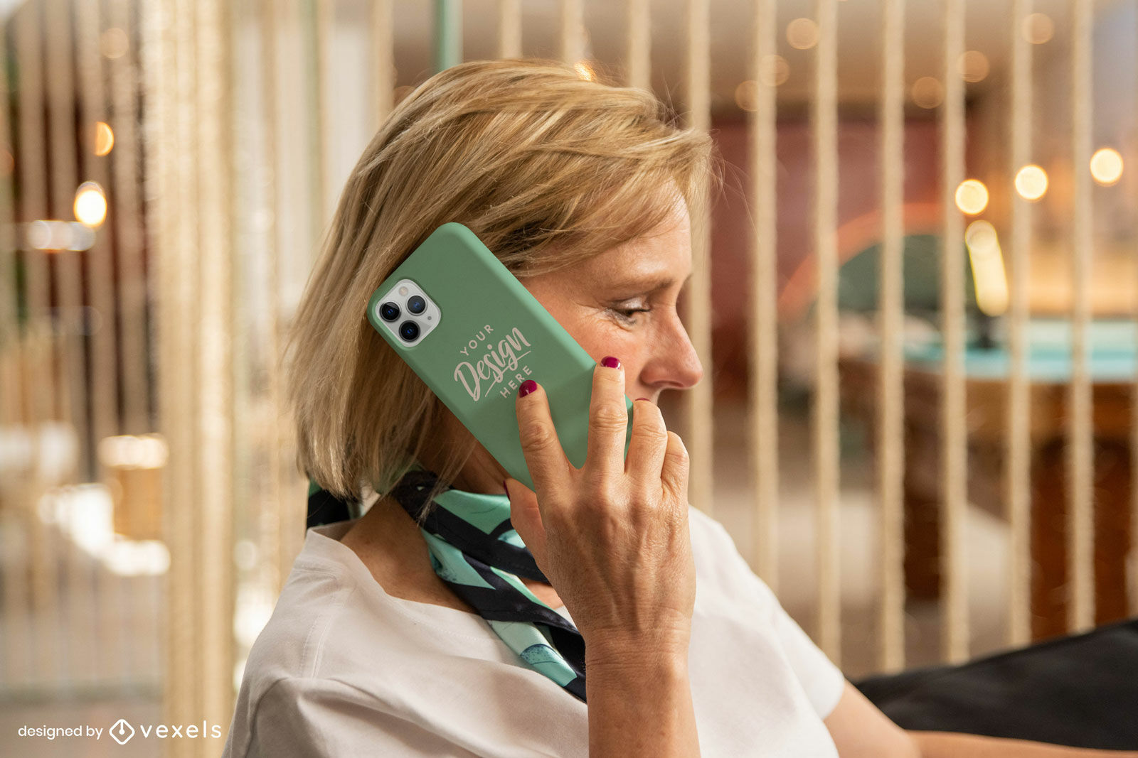 Female model with mint green phone case mockup