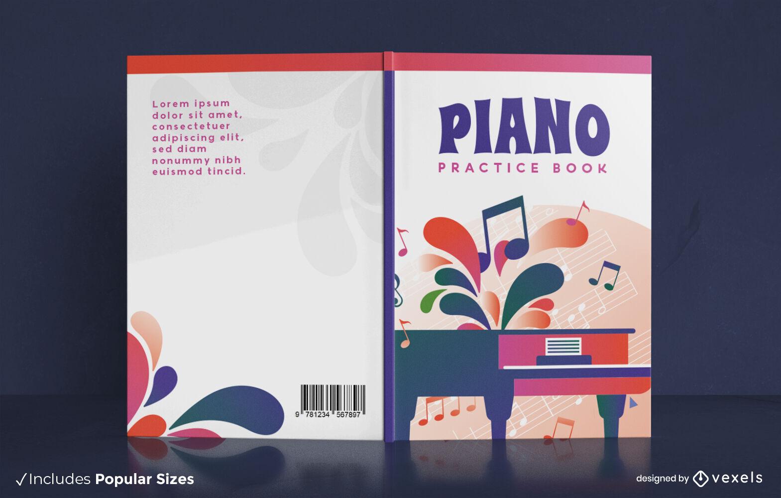 Diseño de portada de libro de instrumentos musicales de piano.