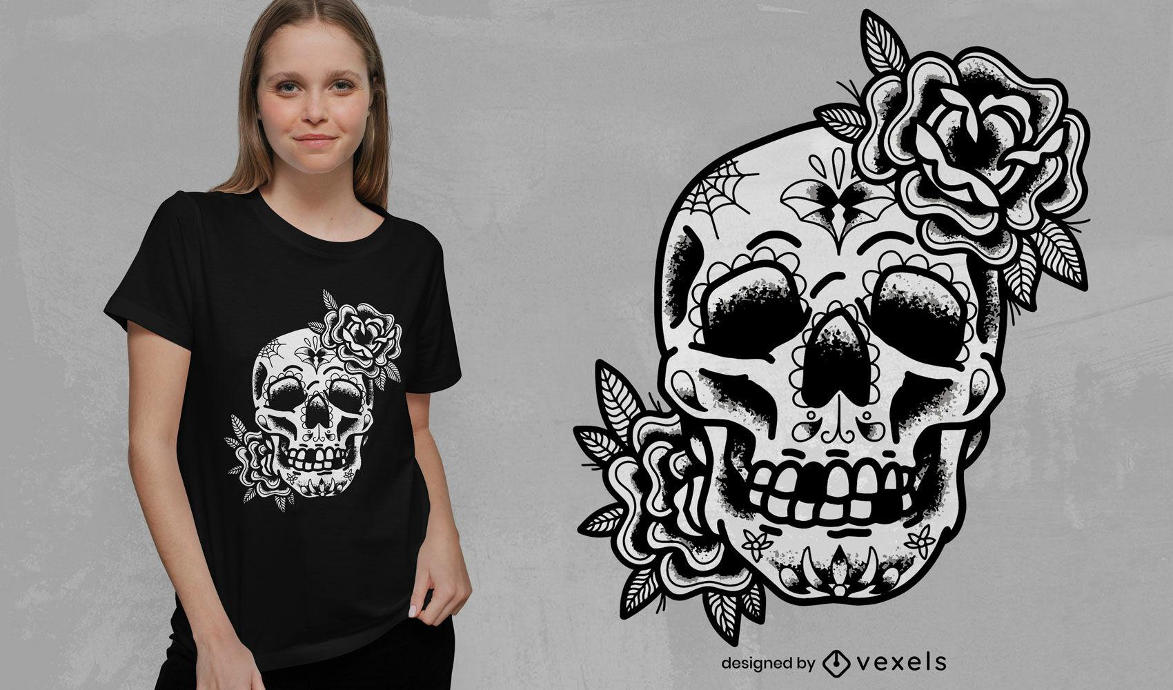 Diseño de camiseta de tatuaje tradicional de calavera de azúcar