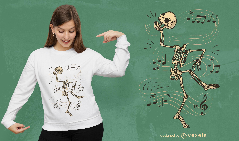 Diseño de camiseta de dibujos animados de esqueleto bailando