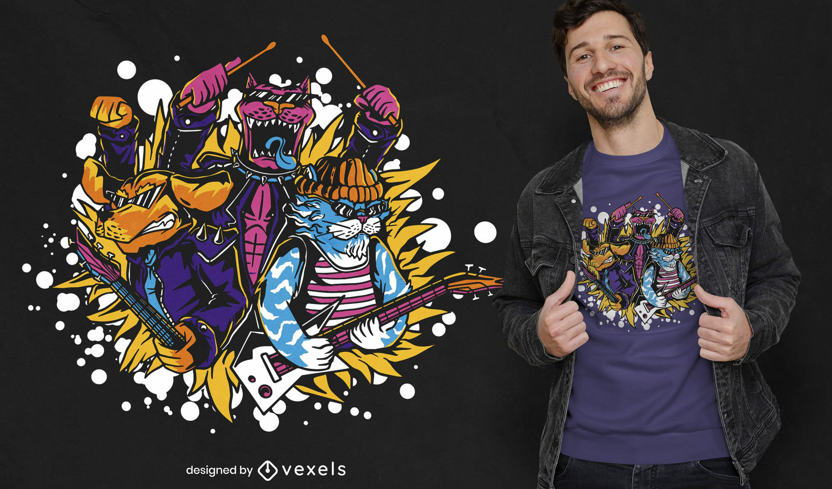 Cats and dogs rock band t-shirt design