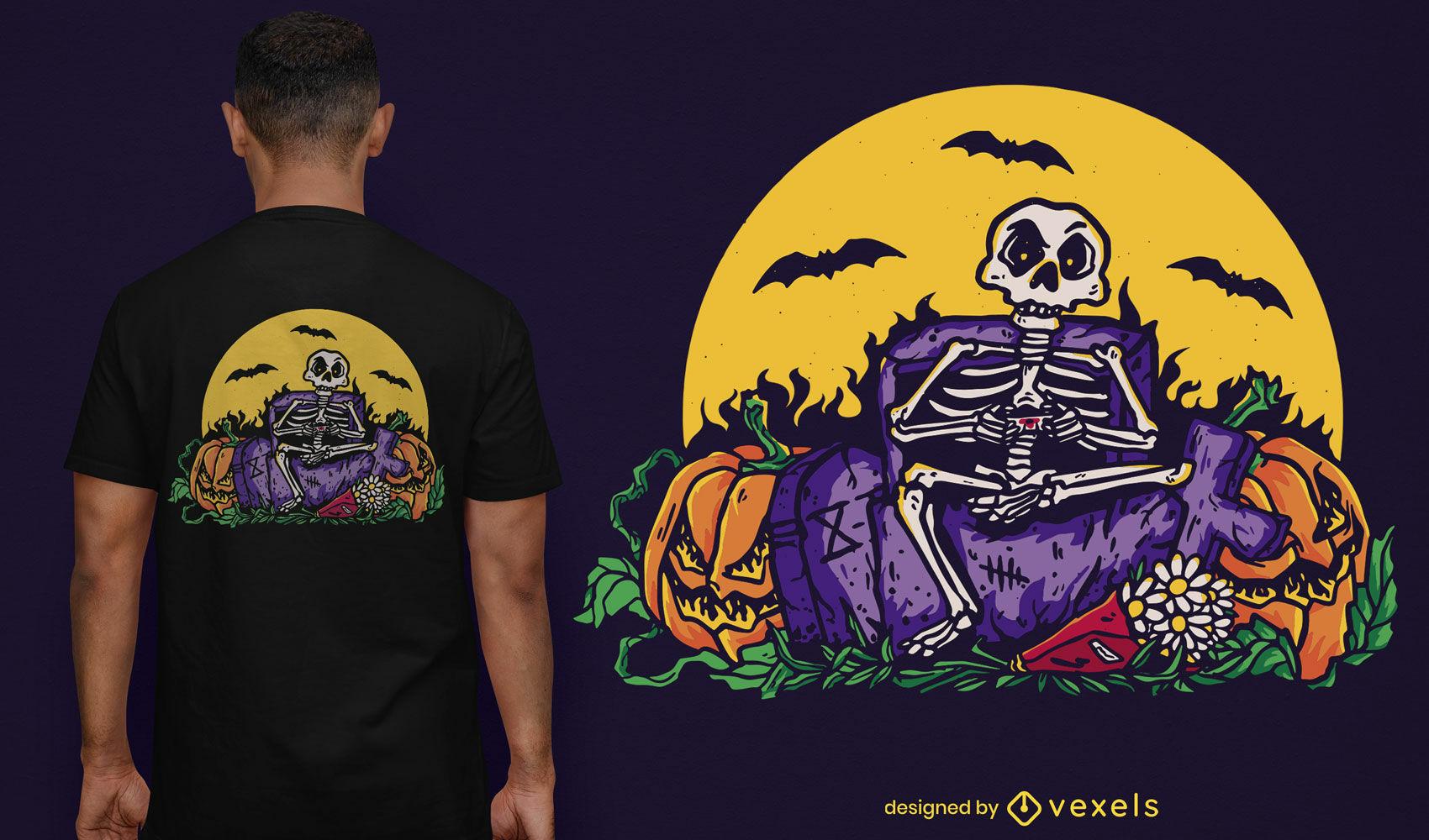 Skelett, das mit Joystick-T-Shirt-Design spielt