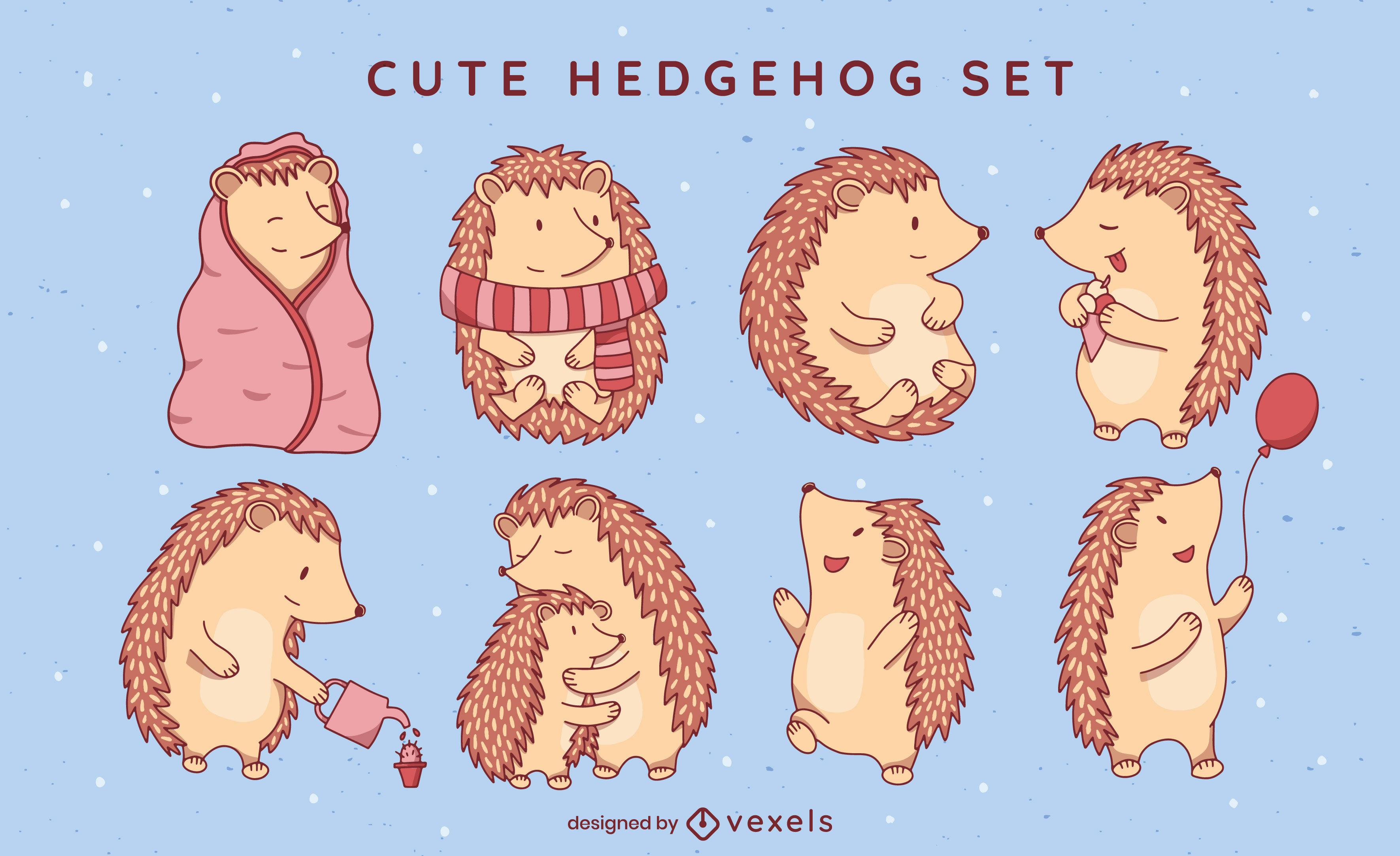 Conjunto de caracteres de animales lindos erizo