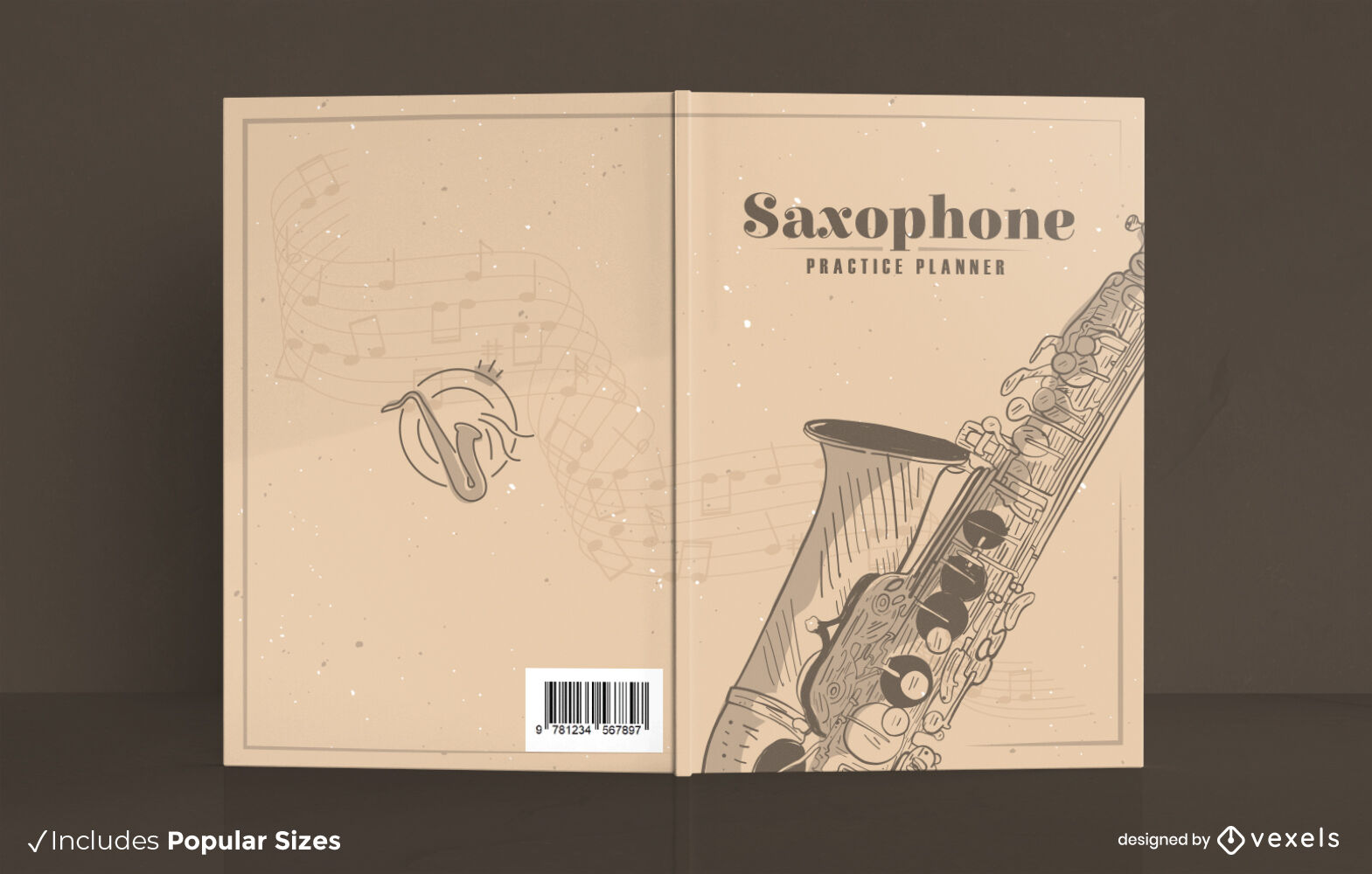 Saxophone music instrument book cover design