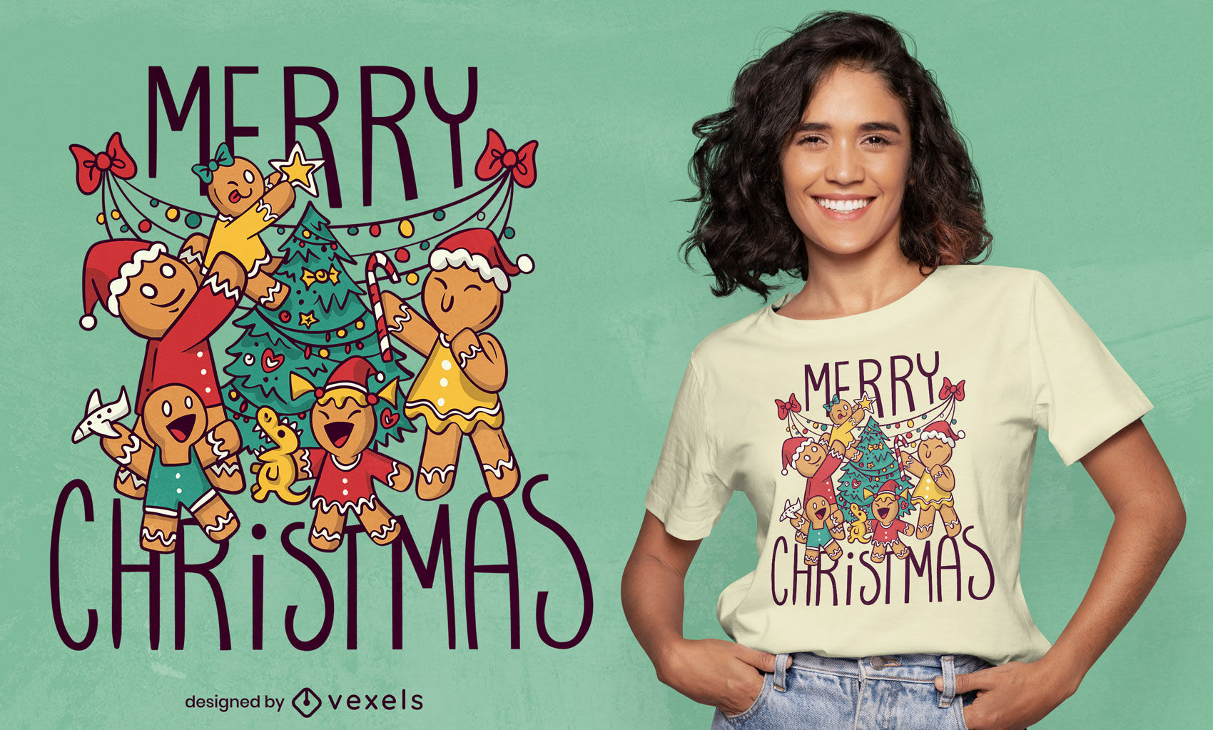 Dise?o de camiseta navide?a de galletas de jengibre