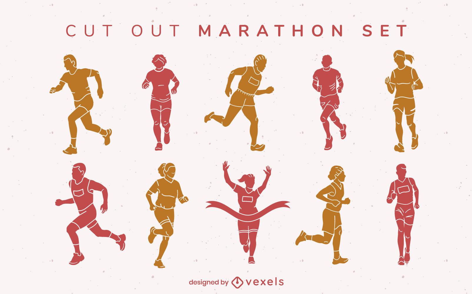 Marathon running people sport cut out set
