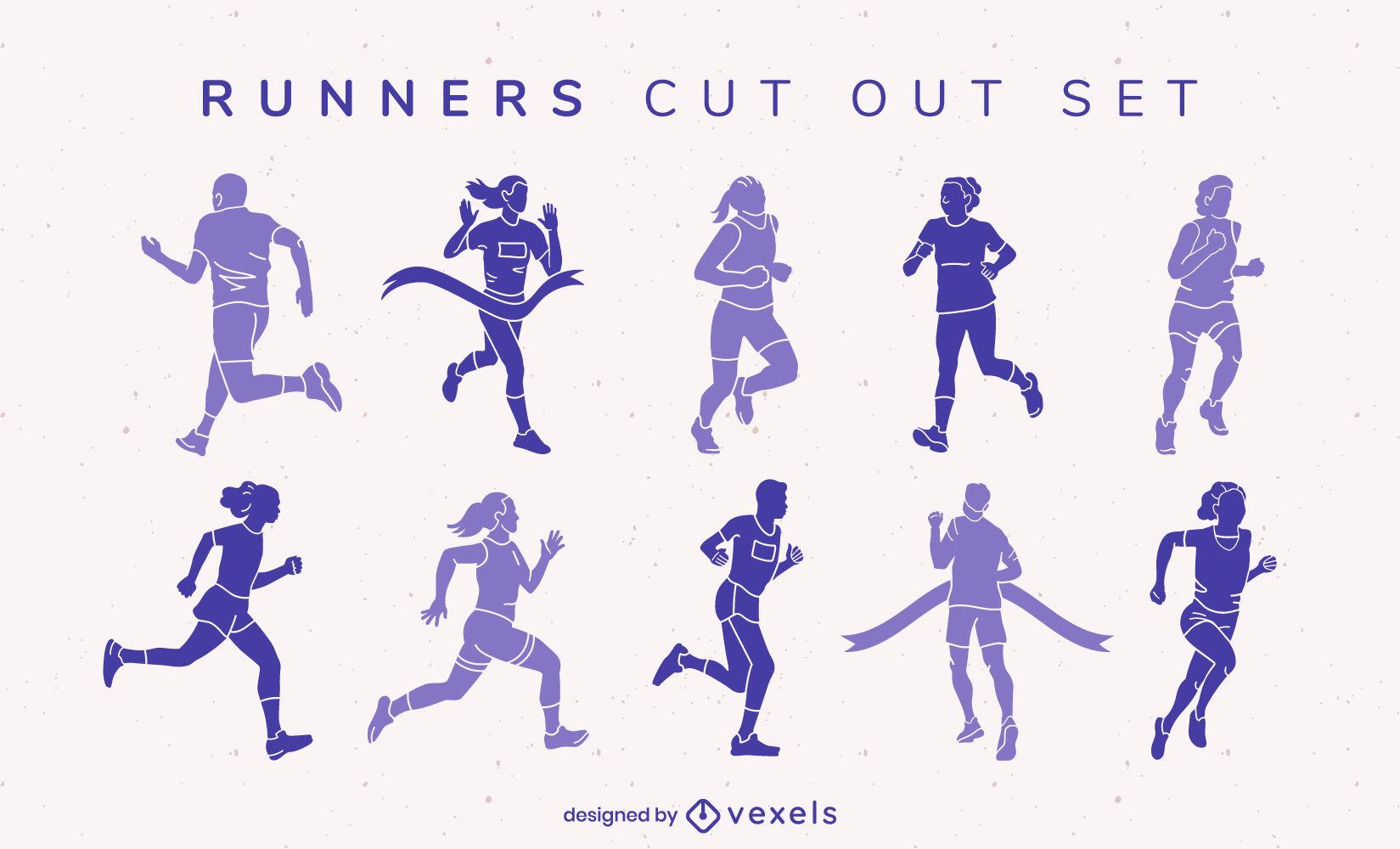 Gente rastrea correr deporte conjunto cortado