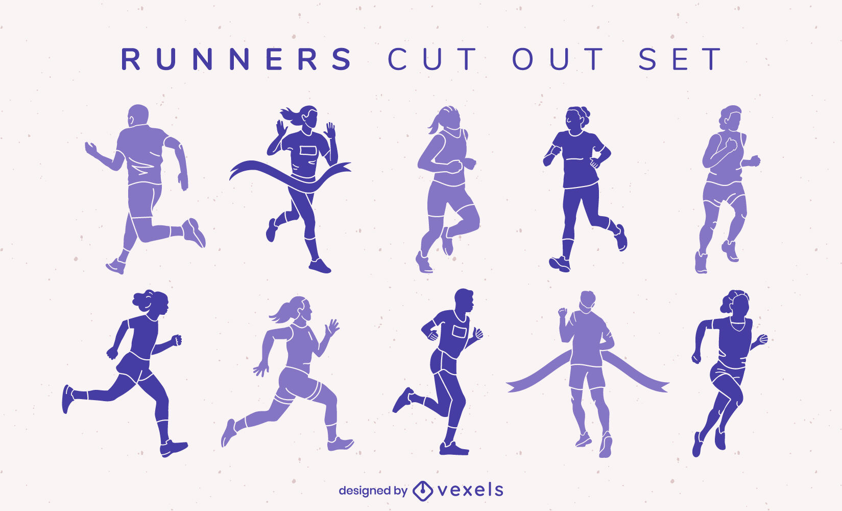 People track running sport cut out set